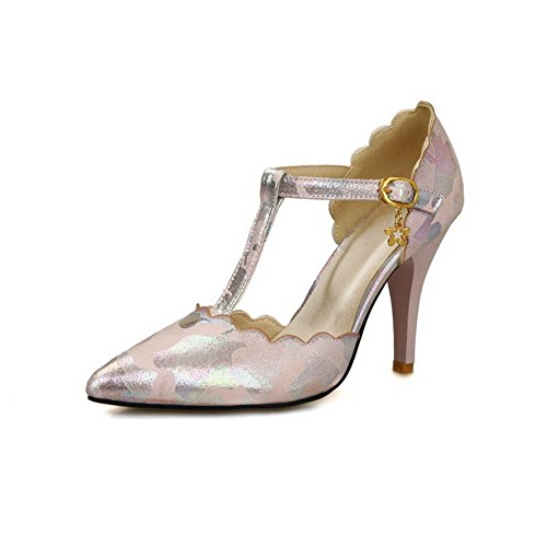 Assorted Buckle Pink Pointed Pumps Spikes Color Shoes Closed VogueZone009 Stilettos Women's Toe 50PqWf7