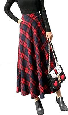 GRMO Women Flare Skirts Plaid Wool with Pockets Winter High Waist Long Skirt
