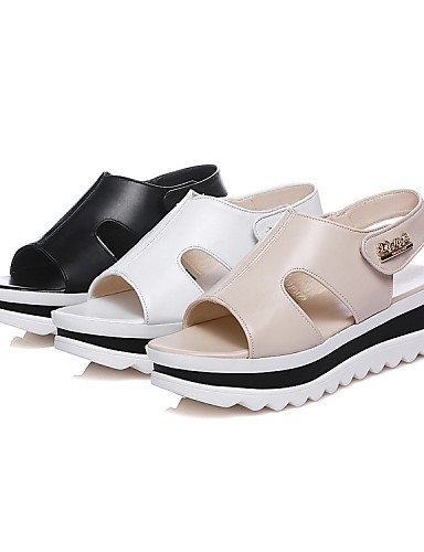 ShangYi Women's Shoes Platform Peep Toe / Square Toe Sandals Outdoor / Casual Black / White / Almond White dG4H3t4nA