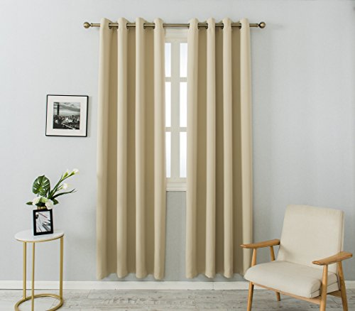 MANGATA CASA Bedroom Blackout Curtains Grommet 2 Panels,Thermal Window Curtain Panel for Living Room Darkening Drapes (Beige, 52x96inch)