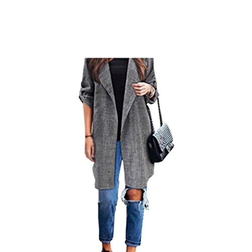 True Meaning Nice open front trench coat plus size long Cloak Jackets cardigans for women (L, Gray)
