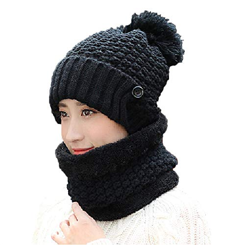 ITODA Winter Beanie Hat Women 3 in 1 Skiing Thick Warm Fleece Skull Slouchy Cap with Detachable Scarf Mouth Mask for Cold Weather Motorcycle Cycling