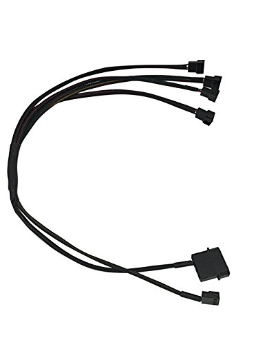 2-Pin Male Molex + small 4P to 4 x 3 Pin Male Computer Case Fan Power Connector Y-Splitter Adapter Cable ()