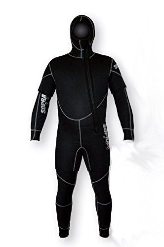 Semi Dry Mens Jumpsuit - SOPRAS SUB Freddo SIZE 6-L Men's 7mm 2 piece Hooded Wetsuit Shorty Jumpsuit Combo Scuba Diving Wet Suit