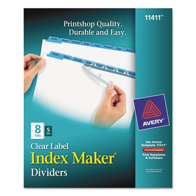 Avery Consumer Products Products - Index Maker, Laser/Inkjet, 8 Tab, 5-Set, Blue - Sold as 1 PK - Make professional-looking dividers with your own tab titles. Label all tabs at once with Easy Apply clear labels. Perfectly align tab labels and label multiple sets quickly with Easy Apply label strips. Label sheet for labeling tabs individually is included in every pack. Format the clear tab labels using your existing software and inkjet or laser printer. Avery offers many easy-to-use templates for