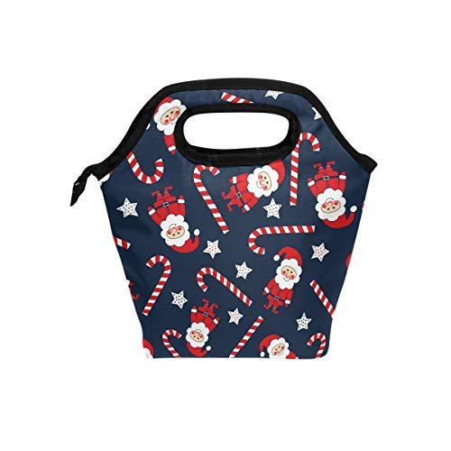 Bettken Lunch Bag Christmas Santa Claus Candy Cane Insulated Reusable Lunch Box Portable Lunch Tote Bag Meal Bag Ice Pack for Kids Boys Girls Adult Men Women -