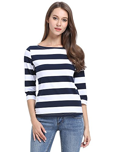 MSBASIC Women's 3/4 Sleeve Boat Neck Striped Relax Fit Tee Shirts]()