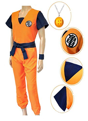 ZeroGoo Goku Costume Cosplay, Unisex Dragon Ball Z Costume,4 Star Dragon Ball Necklace for Adult Men Women Christmas