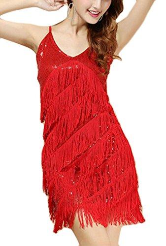 Club Tassel Sequin Womens Sexy Red Jaycargogo Strap Sleeveless Spaghetti Dresses qBw0x1gR