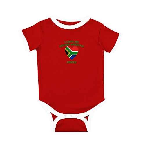 fan products of Cute Rascals I Love My South African Uncle Cotton Short Sleeve Crewneck Unisex Baby Soccer Bodysuit Sports Jersey - Red, 6 Months