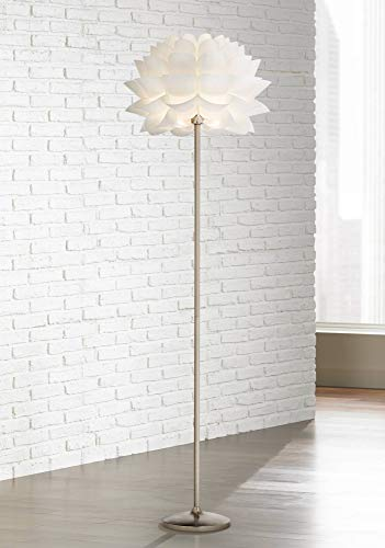 (Modern Floor Lamp Brushed Steel White Orb Petal Flower Shade Dimmable for Living Room Reading Bedroom Office - Possini Euro Design)