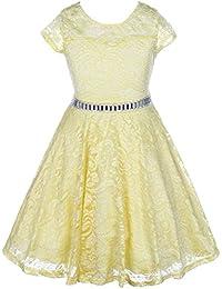 Little Girl Cap Sleeve Lace Skater Stone Belt Flower Girls Dresses