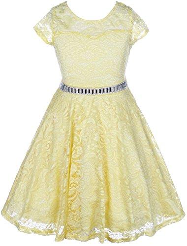 BluNight Collection Big Girl Cap Sleeve Lace Skater Stone Belt Flower Girls Dresses (19JK88S) Yellow 12