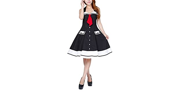 a6d0b04b2a Modern Grease Sailor Swing Black Nautical Halter Dress at Amazon Women s  Clothing store