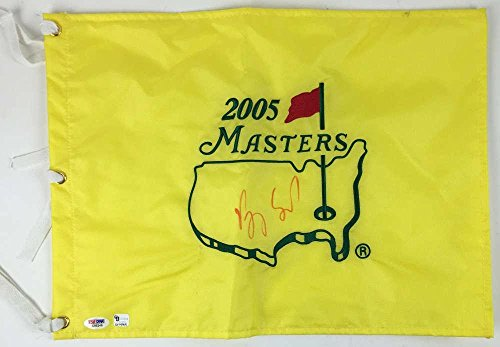 VIJAY SINGH Signed Autographed 2005 Masters Flag Authentic - PSA/DNA Certified - Autographed Pin Flags (2005 Masters Flag)