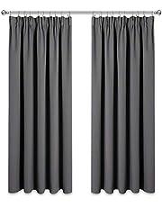 PONY DANCE Verdunkleungsvorhänge mit Kräuselband - Blickdichte Gardinen für Wohnzimmer Schlafzimmer Dekoschals Thermovorhang, 2er Set