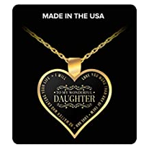 Daughter Gift heart shaped gold pendant necklace -To My wonderful daughter - Necklace Best Gift for Daughter, Grand Daughter, birthday gift, marriage day gift from father
