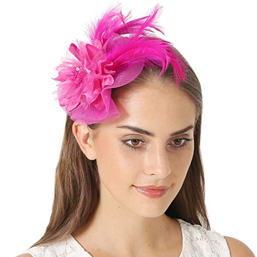 (Fascinators Sinamay Hats for Women for Tea Party Kentucky Derby Wedding Cocktail Mesh Feathers Hair Clip)