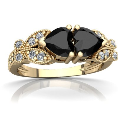14K Yellow Gold Black Onyx and Diamond Heart Butterflies Ring - Size 6.5 Black Onyx Butterfly Ring