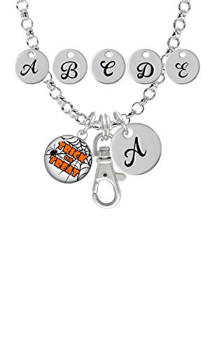 Domed Trick or Treat Custom Initial Badge Clip Necklace