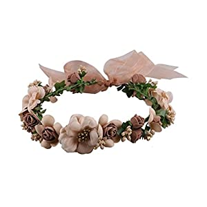 Hoocozi Vacation Hat Decoration Artificial Flower Crown Headband, Beach Decorative Cloth Garland Wreath Headpiece from, 1Pce, Coffee 18