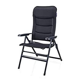 Campart Travel Camping Chair Torino, Extra Wide, Padded Mesh, 7 Adjustable Positions, 112 x 68 x 9cm, Blue