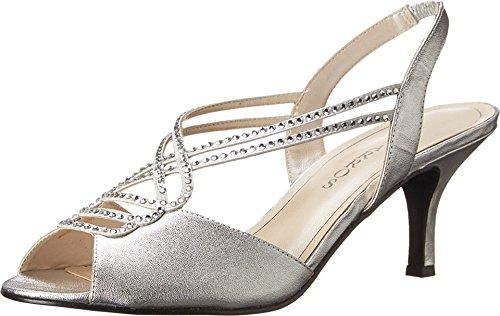 (Caparros Womens Philomena Open Toe Bridal Slingback Heeled Sandals Silver Metallic Size 6.5)