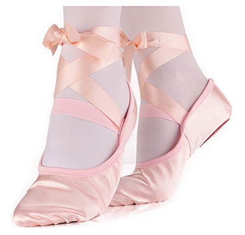 LONSOEN Ballet Slipper Shoes Stretch Satin Ballerinas Dance Yoga Flats with Pure Ribbons for Girls (Toddler/Little Kid/Big Kid SHC553 Nude CN31