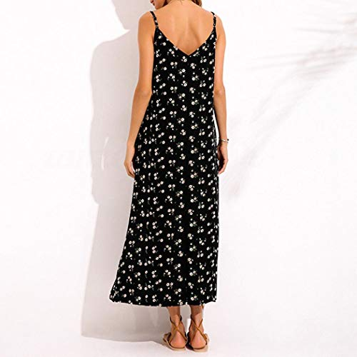 V NREALY Pocket Beach Dress Neck Falda Strappy Casual Long Maxi Womens Loose Dress Black Summer 0CO0Wq7rXw