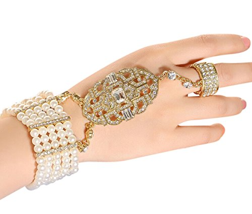 Costumes Parisian Girl (Zking Art Deco Movie Inspired Flower Pattern Simulated Pearl Bracelet Adjustable Ring Set (E-gold)
