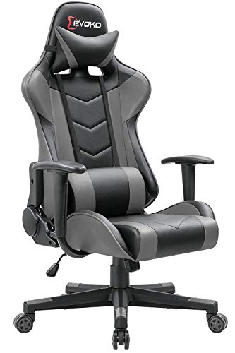 Devoko Ergonomic Gaming Chair Racing Style Adjustable Height High-Back PC Computer Chair with Headrest and Lumbar Support Executive Office Chair Grey