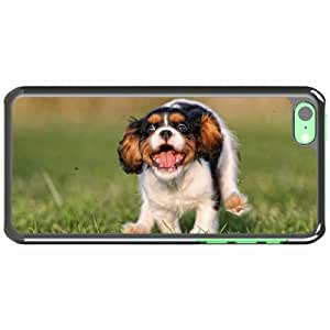 iPhone 5C Black Hardshell Case puppy grass running jumping Desin Images Protector Back Cover