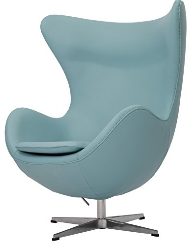 MLF Arne Jacobsen Egg Chair. 100% Italian Leather & Hand Sewing. Adjustable Tilt. High Density Foam. 360176; Swivel, 4 Star Satin Polished Aluminum Base. Strong Fiberglass Inner Shell.(Blue)