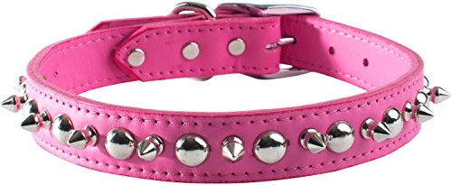 Leather Brothers 6080-PK18 Size 18 Signature Leather Spike and Stud Dog Collar, Medium, Pink (Leather Signature Spike)