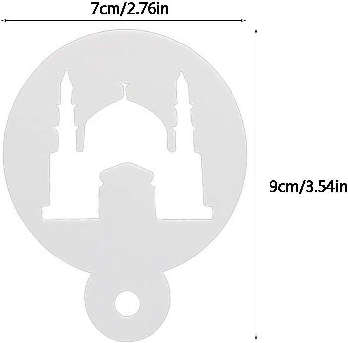 minansostey 8pcs//Set Eid Mubarak Ramadan Moon Coffee Flower Spray Stencils Cake Mold Decor