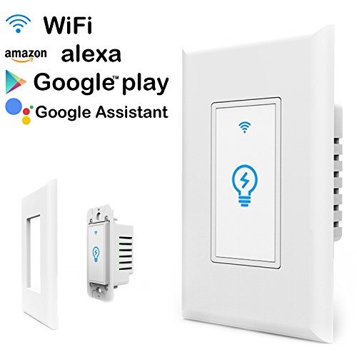 Megadream WiFi Smart Wall Light Switch, Wireless Wall Switch Timing Function Voice Control with Alexa Mobile Phone Remote Control Automatic Control Your Devices from Anywhere
