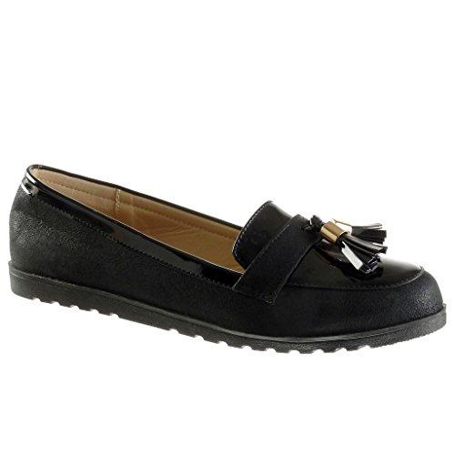 Angkorly Damen Schuhe Mokassin - Slip-on - Fransen - Bommel - Patent Flache  Ferse