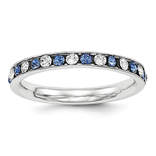 925 Sterling Silver Blue White Cubic Zirconia Cz Eternity Wedding Ring Band Size 6.00 Fine Jewelry Gifts For Women For Her (Dazzling Rock Bridal Sets)