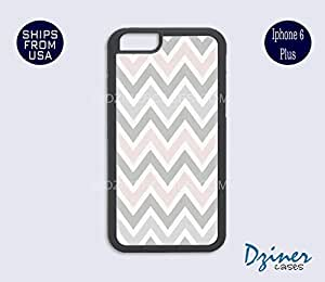 iPhone 6 Plus Case - Grey Pink Chevron iPhone Cover