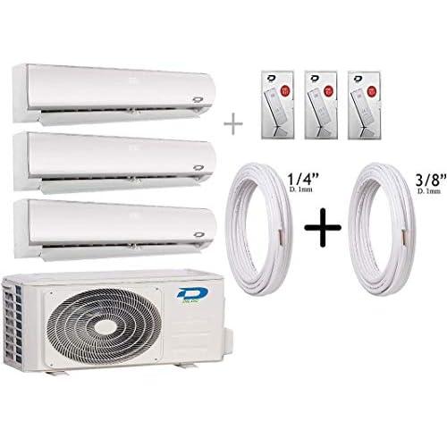 """41zBTcrFP2L. SS500 Diloc Frozen Aire Acondicionado MultiSplit Wifi, Aire Acondicionado Inverter 6,1 kW Trial Gas R32 D.FROZEN360 (9+9+12) D.FROZEN9 x 2 + D.FROZEN12) + Tubos Cobre Par 1/4"""" + 3/8"""" Wifi; Función Sleep; Bomba de calor; Auto Swing; Standby Pantalla retroiluminable; función deshumidificador; clase A +++."""