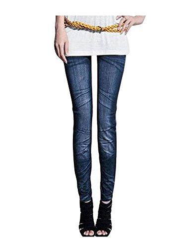 Bleu imprim Fonc Letuwj Femme 1 Jeans dessin avec qwvxUxgXR