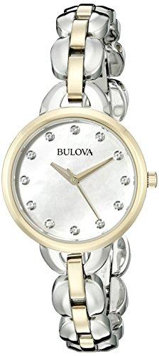 Bulova Women's 98L208 Analog Display Japanese Quartz Two Tone Watch Bulova Diamond Womens White Dial