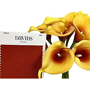 Angel Isabella 10pc Set Real Touch Calla Lily-Feels just Like Real (Gold Yellow and Sienna)