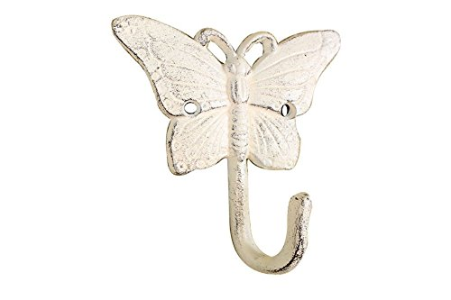 Whitewashed Cast Iron Butterfly Hook 6