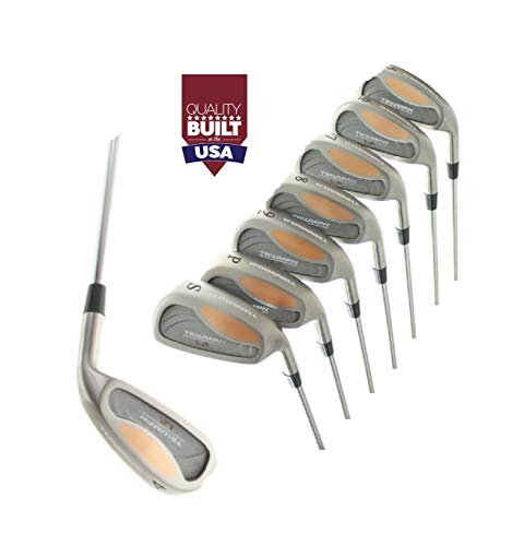 Triumph Men's Tour High Trajectory Edition Stainless Steel Irons Set 4-9 Irons + Pitching Wedge + Sand Wedge: Stiff Flex; X-Tall Length (+1.5