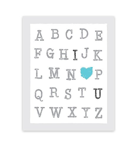 (ABC's of Love Blue 16x20 Inch Print, I Love You Wall Quotes Nursery Quotes Alphabet Letters Words Art Alphabet Wall Art Decor Baby Boy Nursery Decor Wall Art ABC I Heart You Designs)