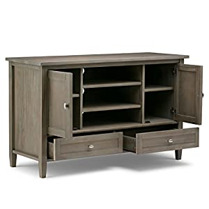 Simpli Home Warm Shaker Solid Wood TV Media Stand, Distressed Grey