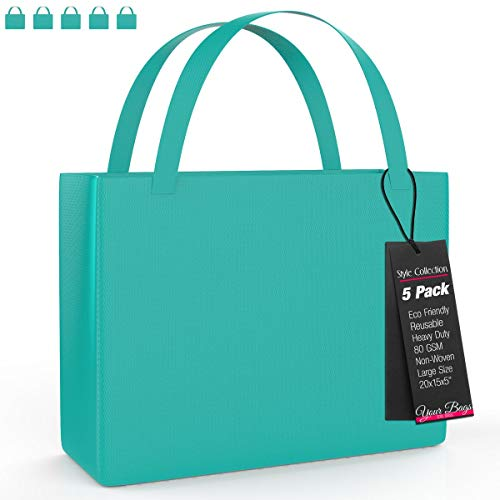 Dark Accessories Color Blue - Reusable Stylish Tote Bags, 5 Pack - Large Tiffany Blue Carrying Bag for Shoes, Groceries, Accessories – Lightweight for Travel - 20