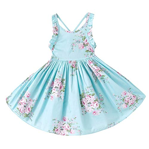 - Toddler Vintage Floral Girls Dress Baby Backless Sundress,Blue 4T