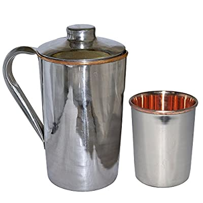 Christmas Gifts Pure Copper Water Jug Pitcher with Lid and Copper Glass Drinkware Set for Ayurvedic Health Benefits